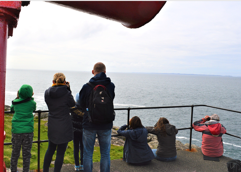 Some of the volunteers on the look out at Ardnamurchan Lighthouse.