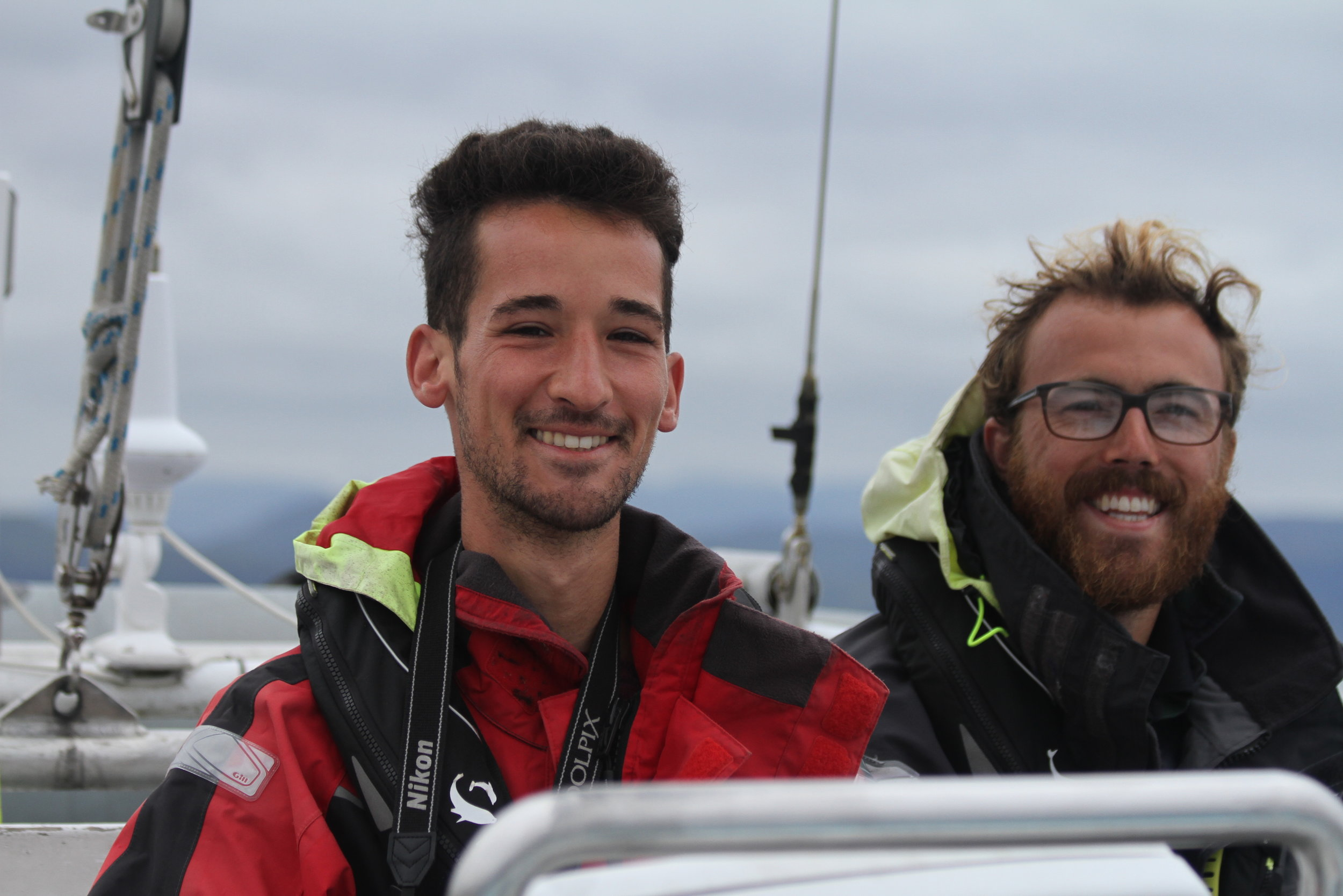 Smiles all round! Danny on board  Silurian  with relief first mate Charlie.