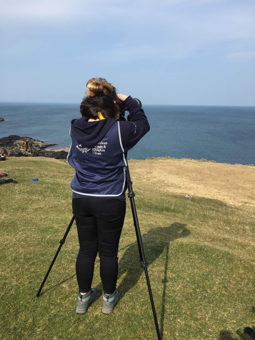 Hannah keeping watch for marine wildlife