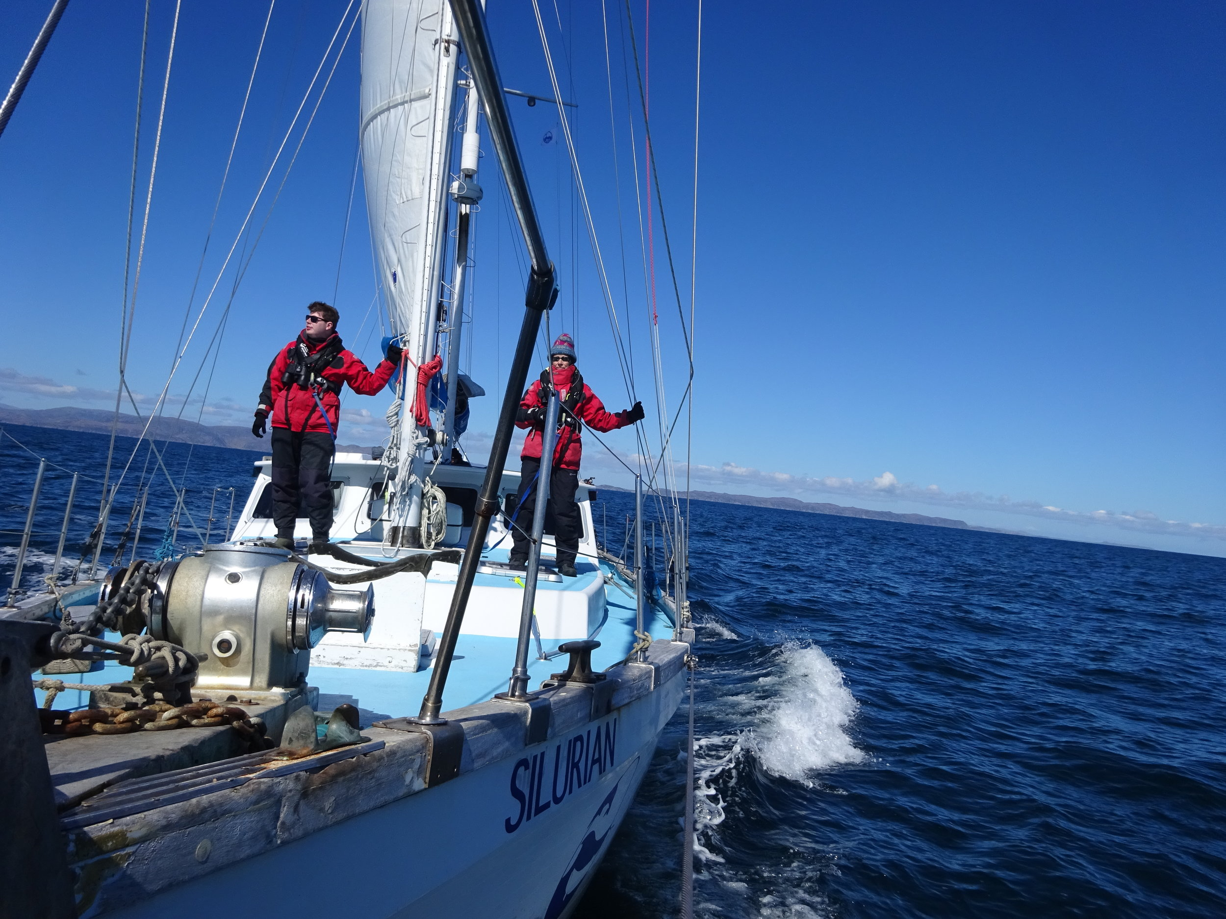 HWDT citizen science volunteers on visual survey effort on board Silurian