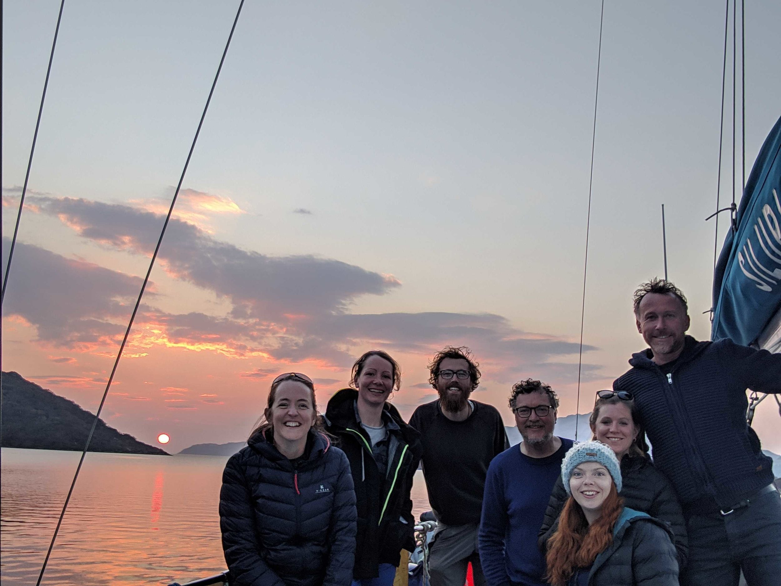 Our 2019 crew anchored in Loch Sunart at sunset during their team training last month