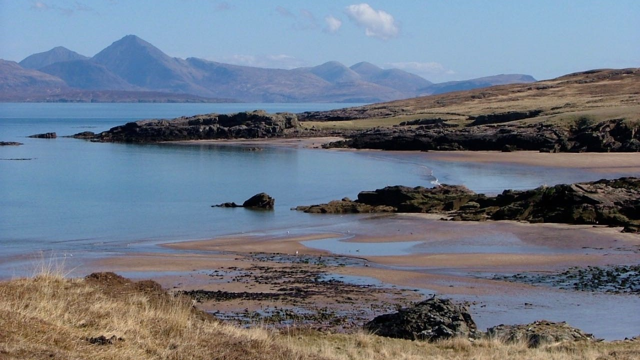 Kilmory Beach with the Skye Cuillins in the background