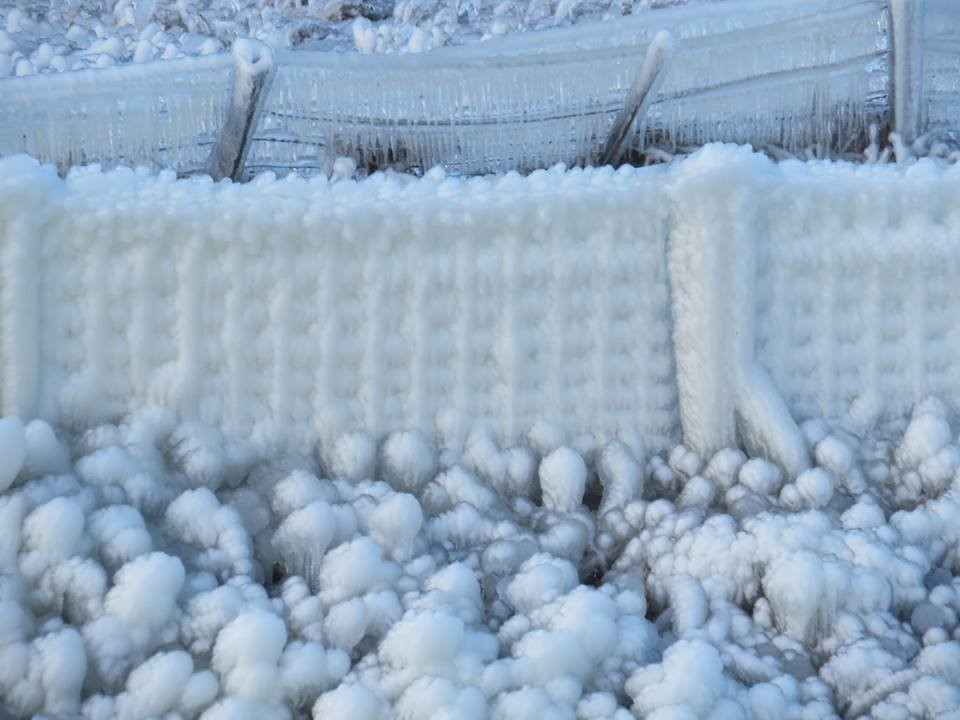 In winter the spray from the 'waterup' coats the clifftop, turning the ground and fences into deadly ice sculptures!