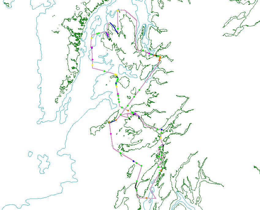 Tracklines showing where Silurian travelled on HWDT07