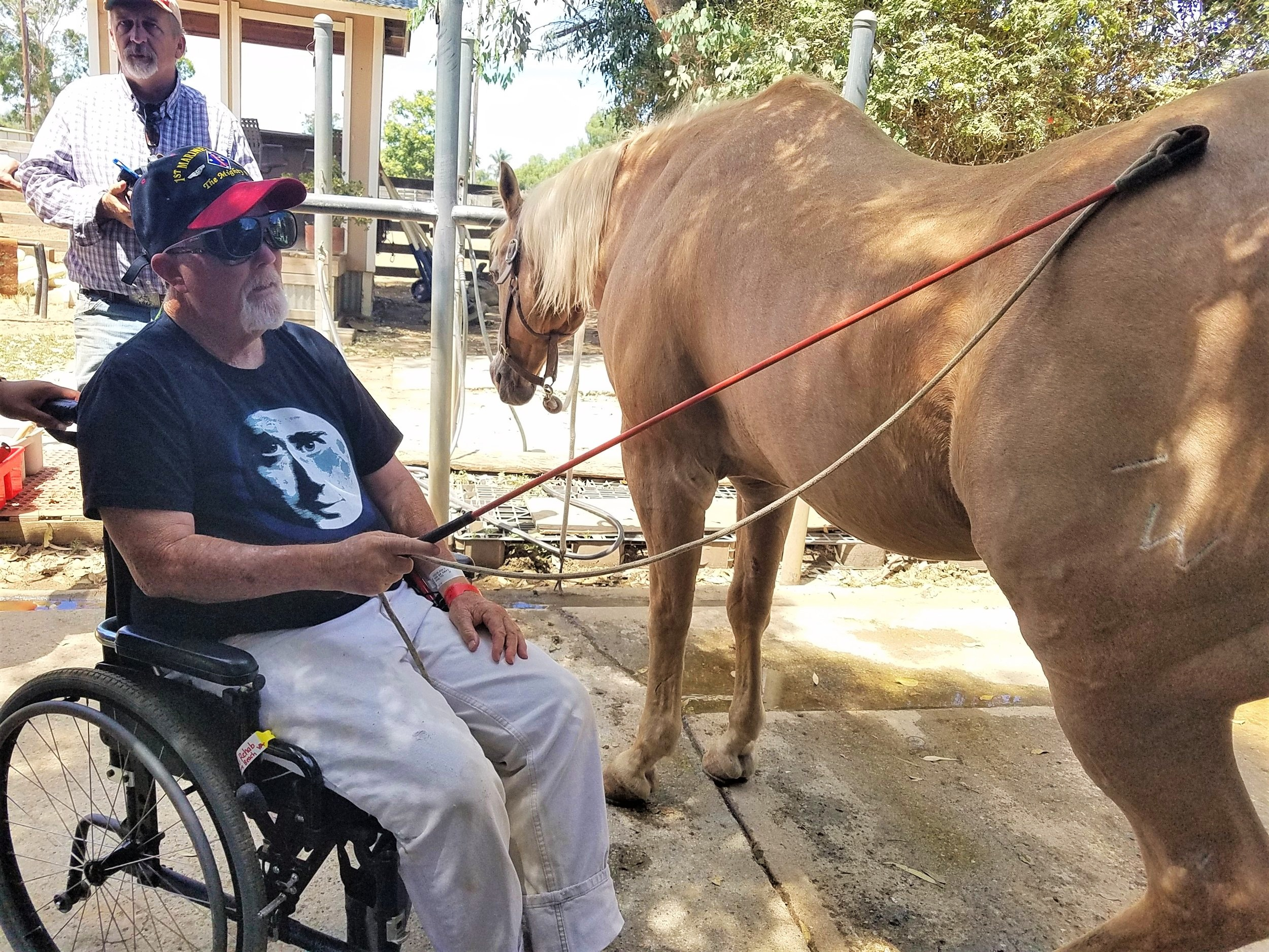 Working with veterans from the Long Beach Blind Rehab Center, and using a carrot stick to gently release tension (an adaptation of a Masterson Method technique) at  Heaven's Ranch and Rescue.