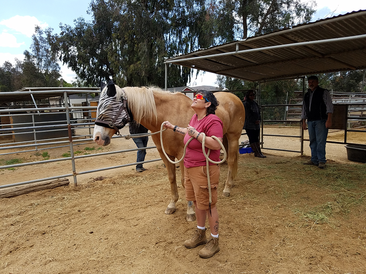 Terine's first day working with a horse impacted her so greatly that she is now in our advanced training program.