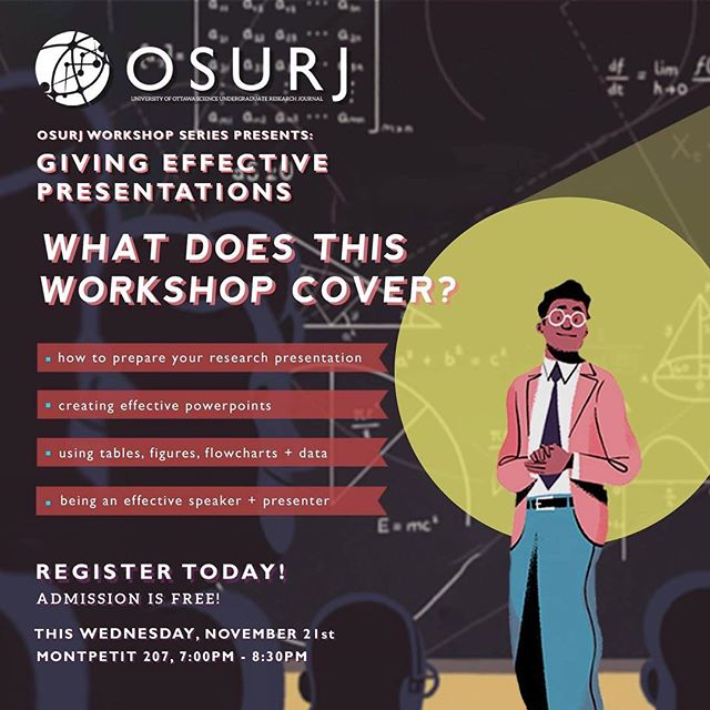 OSURJ's Giving Effective Presentations workshop is only 2 DAYS AWAY!  Whether or not you're doing your Honours project or doing your UROP project, don't miss out on the chance to learn valuable and essential tips for presenting your own research and findings! 🔬👩🏻‍🏫 Spots are limited for the final workshop of the series, so register today! Admission is FREE and refreshments are provided — link in bio! 😊