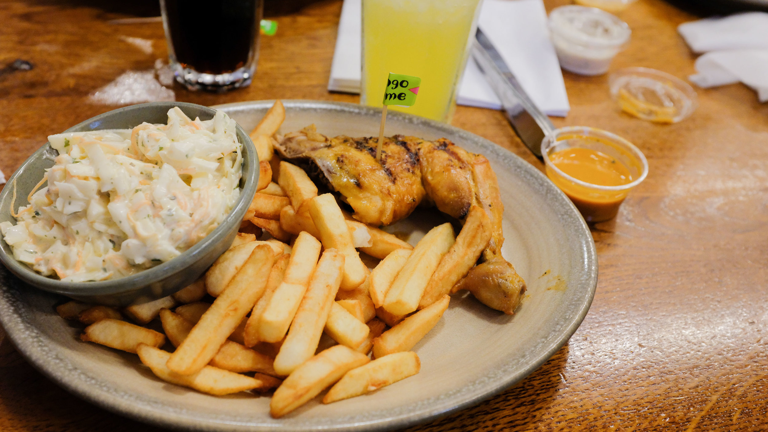 You know I had to try a cheeky Nandos after seeing how popular it is over there. It was good! Not mind blowing or anything since it's a chain. The orange Fanta in the UK is so light! I'm not a huge soda drinker but when its light, I don't mind.