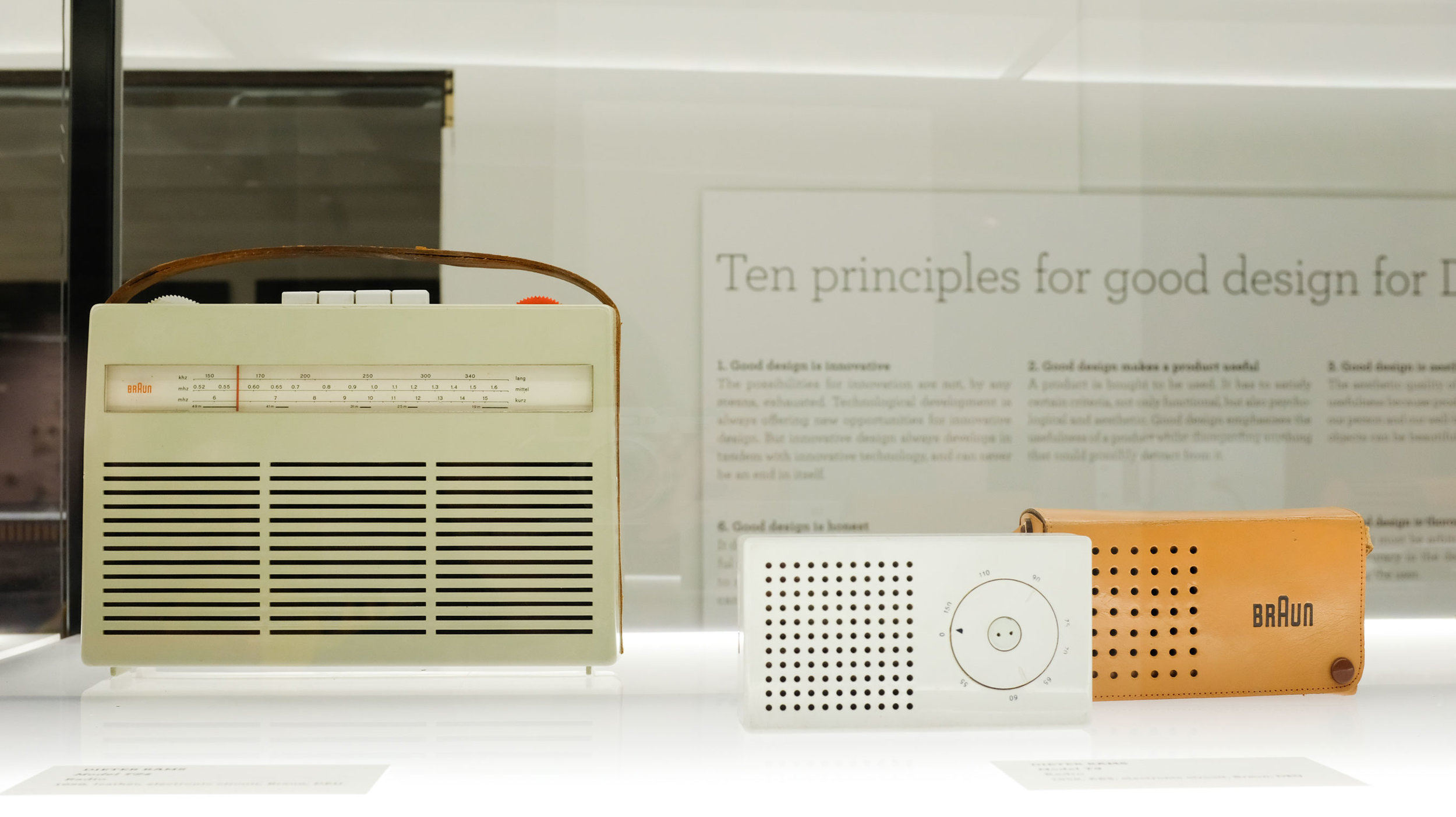 A little Dieter Rams with his 10 design principles in the background.