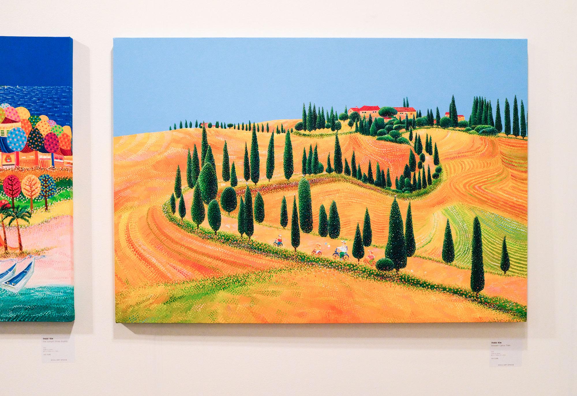 Dukki Kim, Between Cyprus Trees, 2018. Acrylic on canvas.