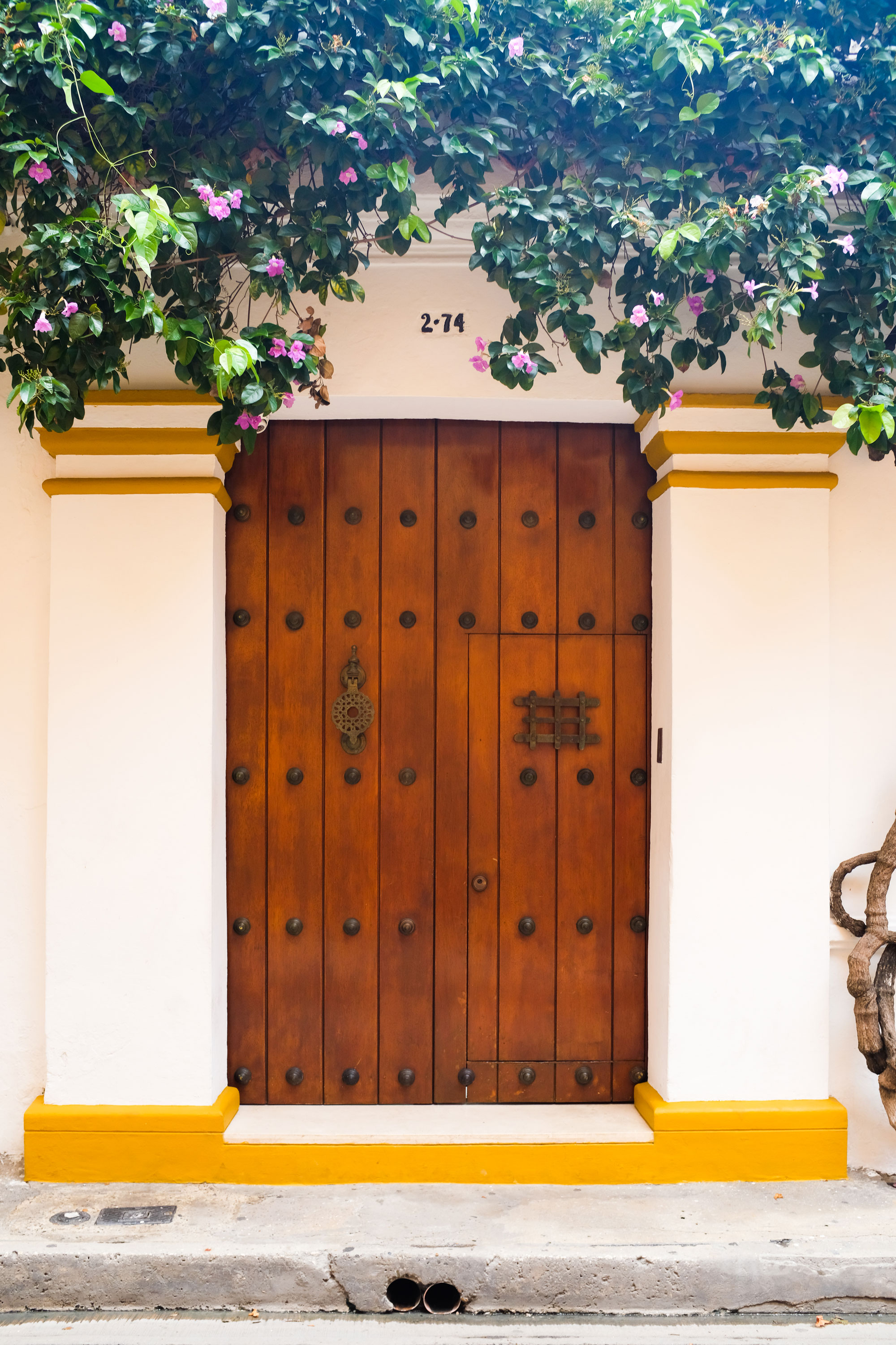 Cartagena is iconic for its numerous detailed doors. Which makes me wonder what is behind them. From what I know, they're beautiful mansions with pools in the middle of the house.