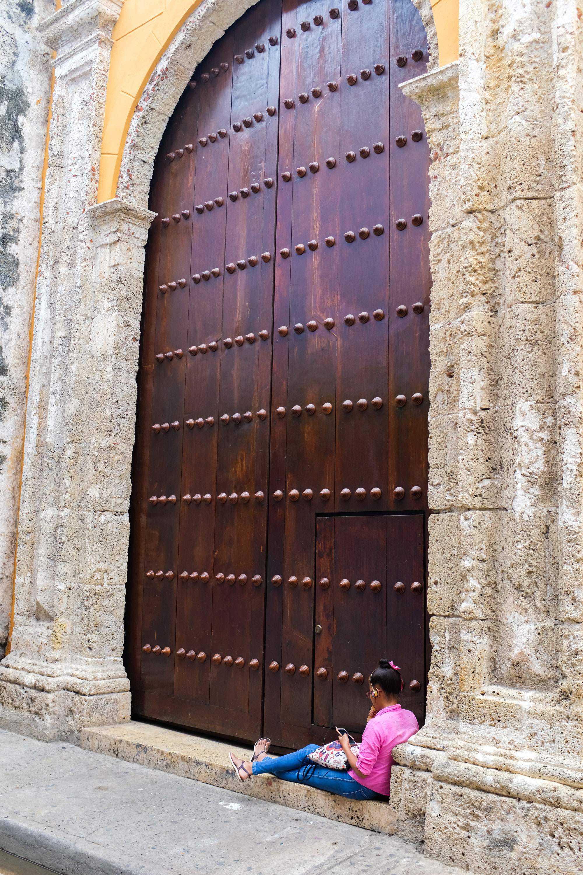 This door is part of the oldest church in Cartagena called Convento de Santo Domingo founded in 1551. That's so old to me. I wonder what that little door was for.
