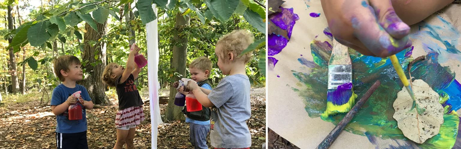 11:00 AM - Art and Craft - Creating with tools, and found materials. Students can make paintbrushes from leaves and sticks, work with clay or dig in the dirt.
