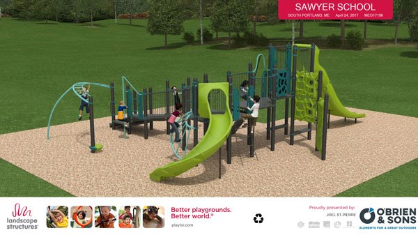 The playground designed as envisioned by O'Brien & Sons.