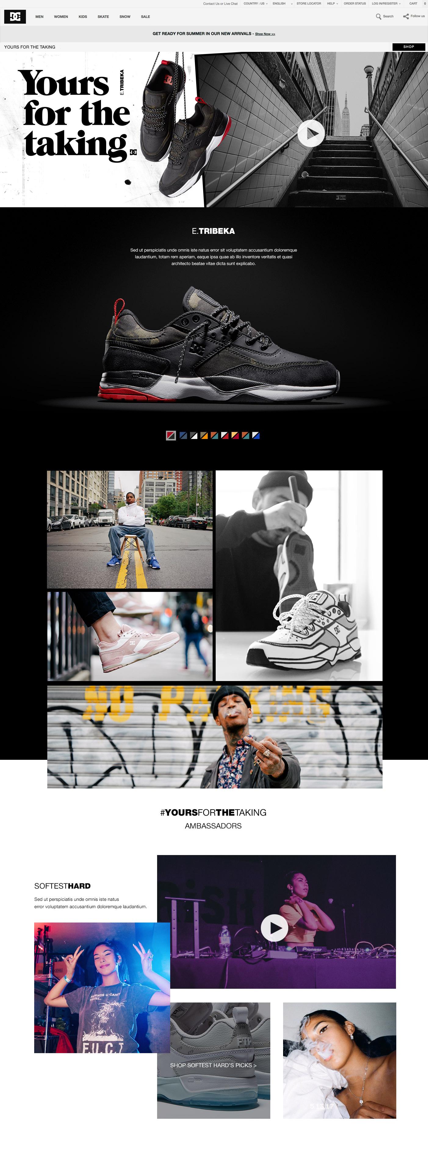 #YoursForTheTakingE.Tribeka shoes - User Experience / Digital Campaign DesignCreative Direction: Alessandro GrisonPhotos: Steve Treboux / Mike HeikkilaVideos: Chris Ray, Martin Forbes, Sam Sosnowski, Massimo LegittimoProducer: EJ Binn