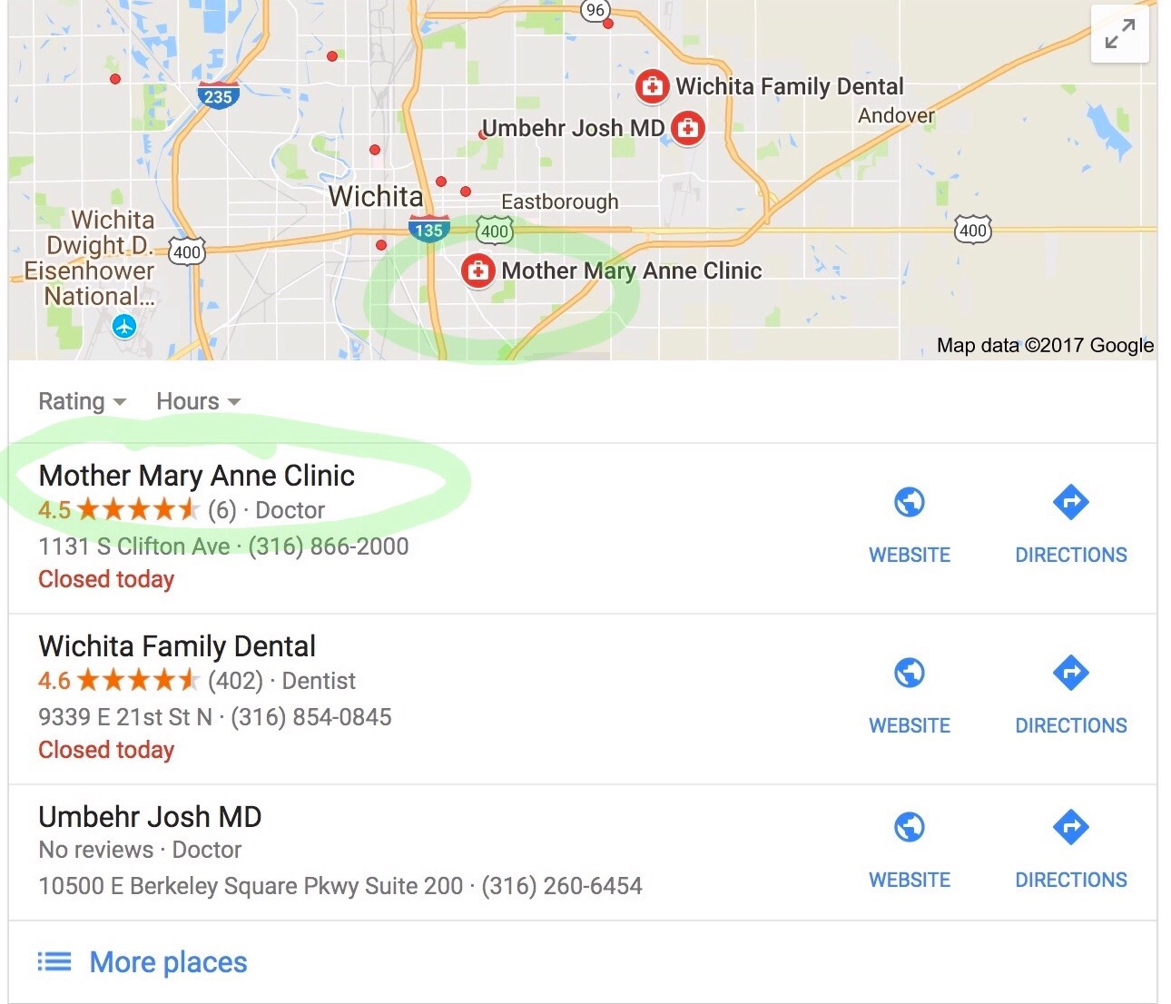 Positive online reviews contribute to Mother Mary Anne's higher web traffic.   - Clinics with high reviews rank higher in Google search results. Pictured here: Results for a Wichita resident Googling