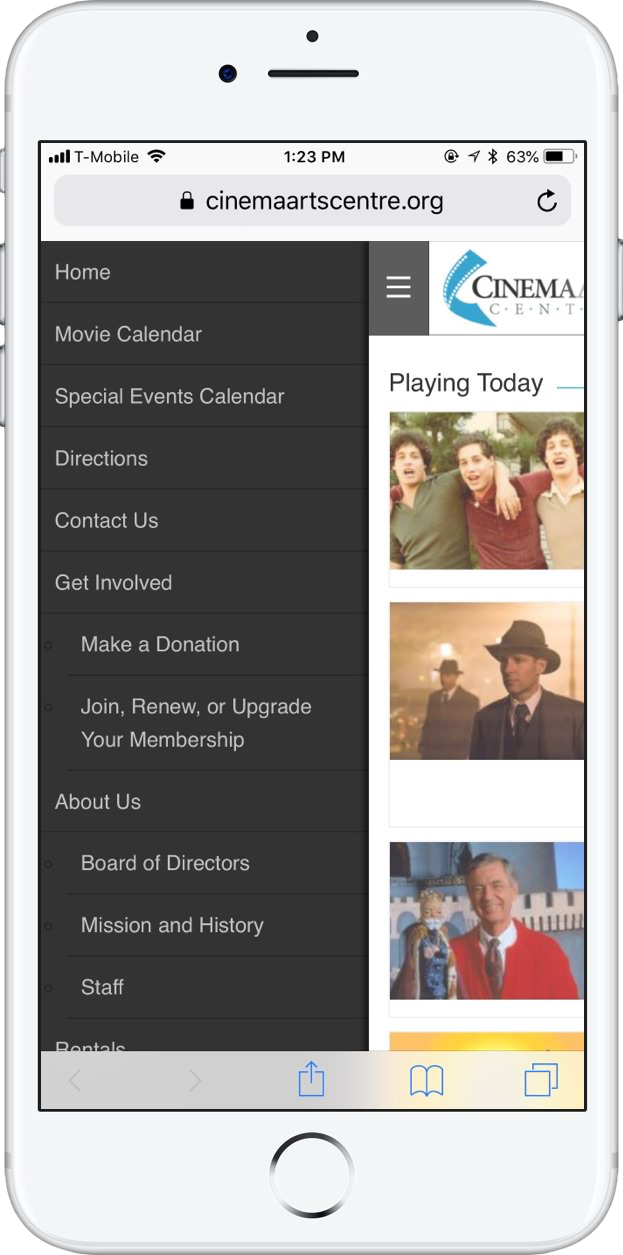 Note: CAC's mobile menu doesn't offer all menu options. - For someone looking for sponsorship options on smaller screens, the information isn't readily available. It's best to provide users with the same options and access to information across all devices.