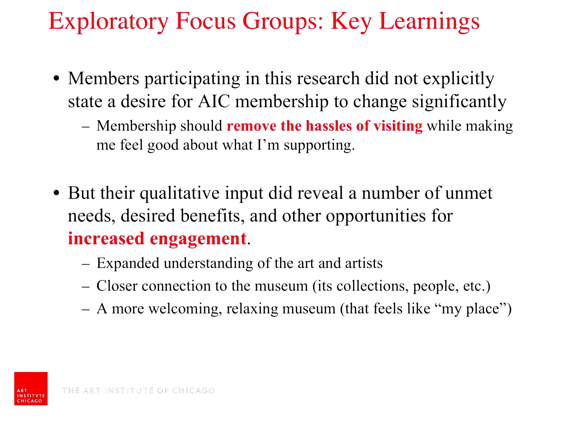 Focus group slide from membership research for AIC