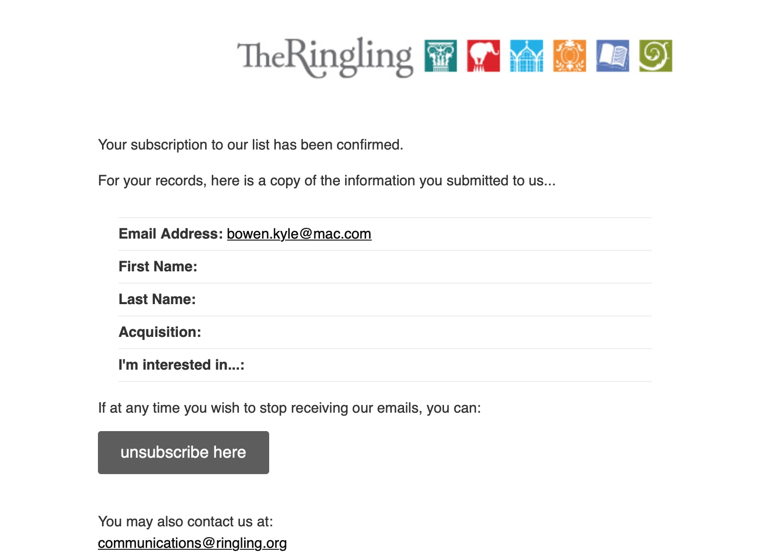 Confirmation email from Ringling newsletter