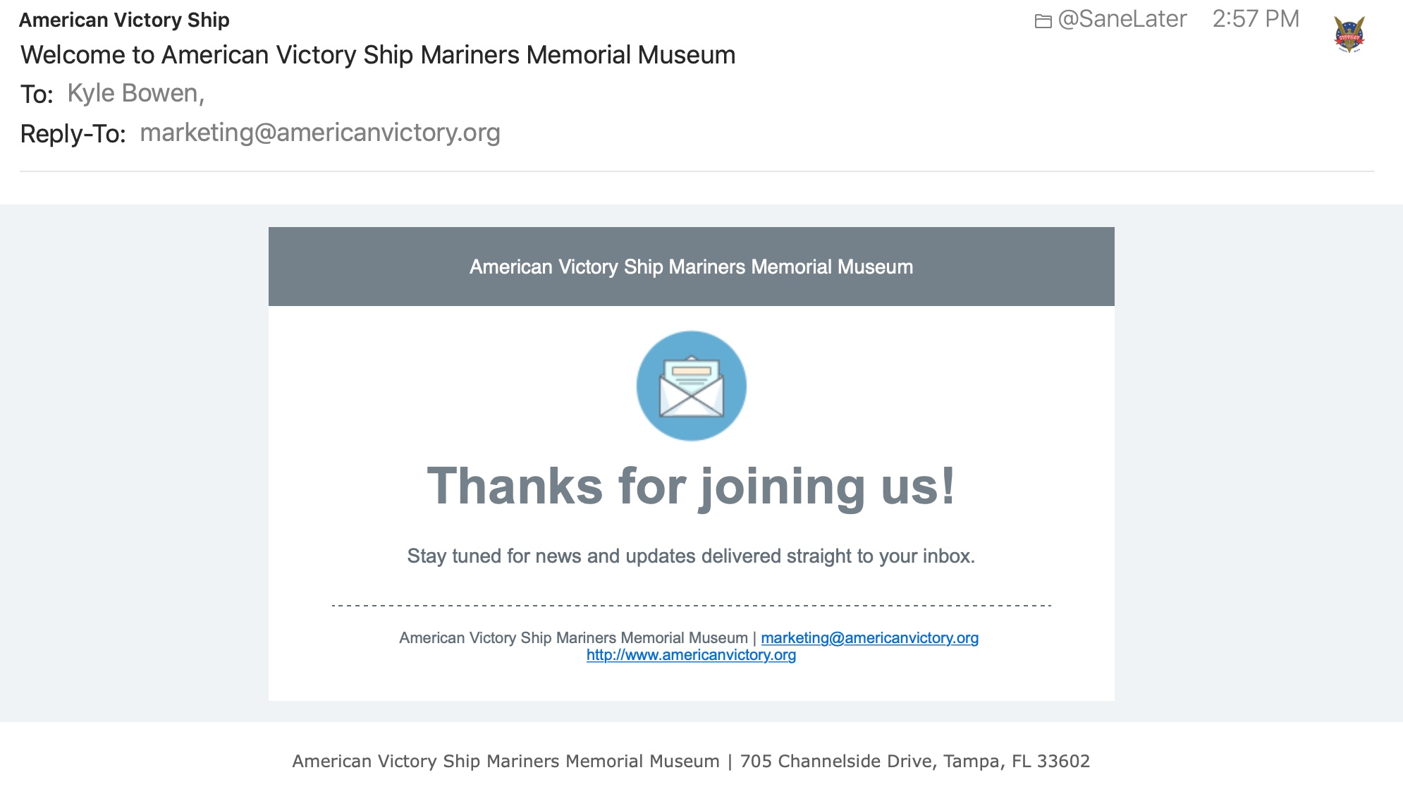 Victory Ship Mariner's Museum welcome email