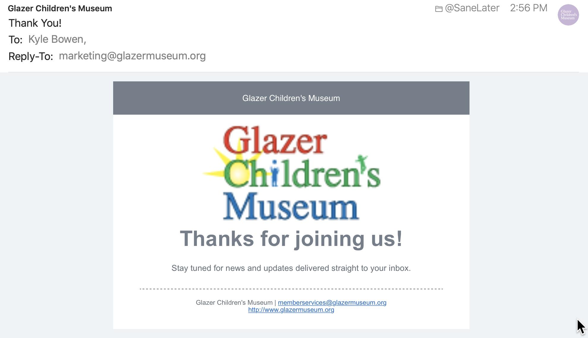 Glazer Children's Museum's welcome email