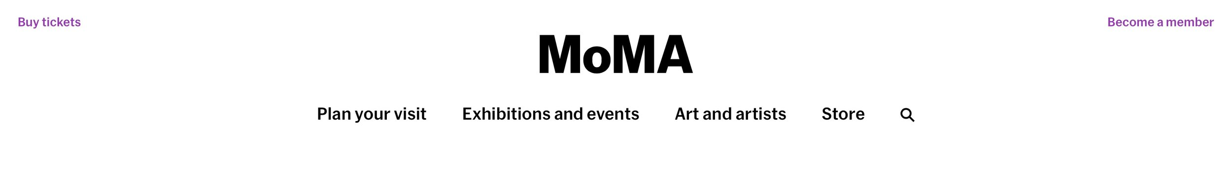 MoMA's site navigation: 4 items on the main menu