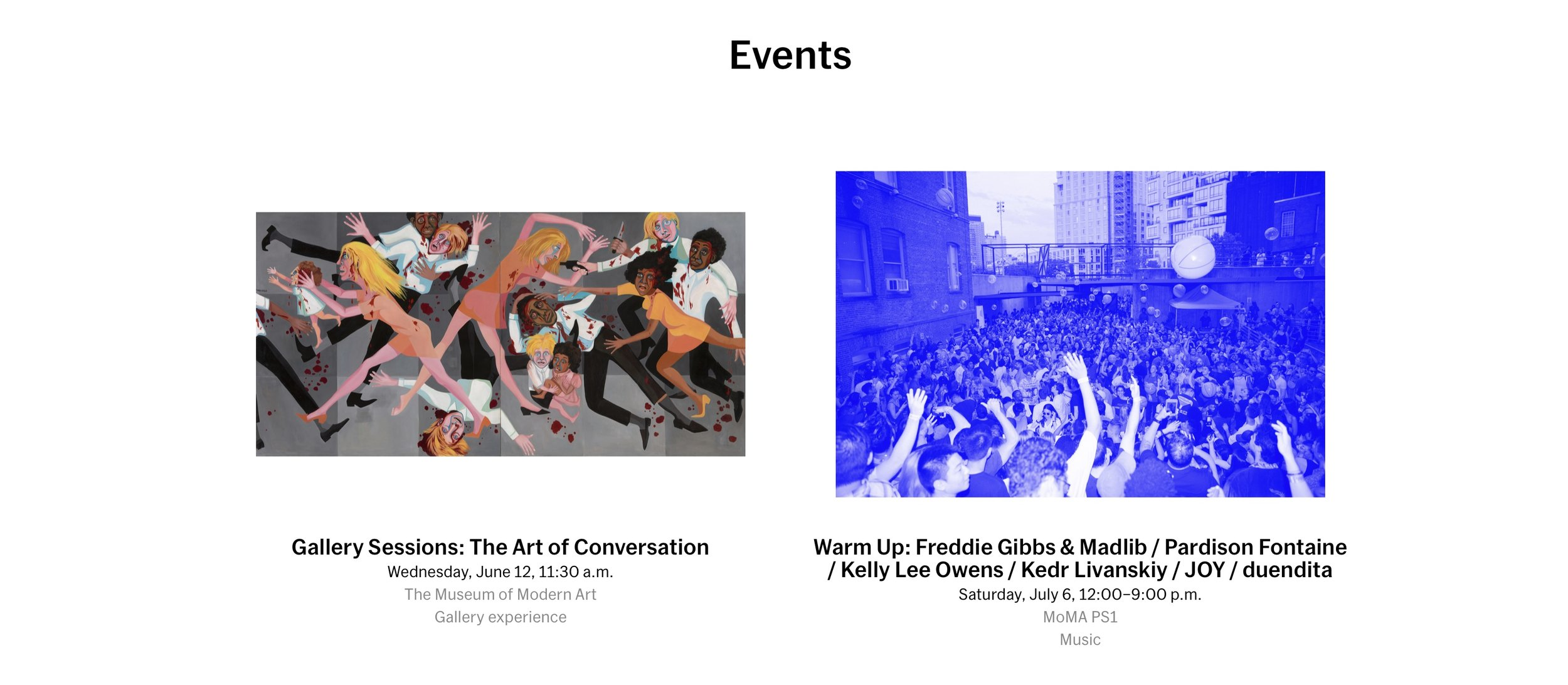 MoMA events, side by side