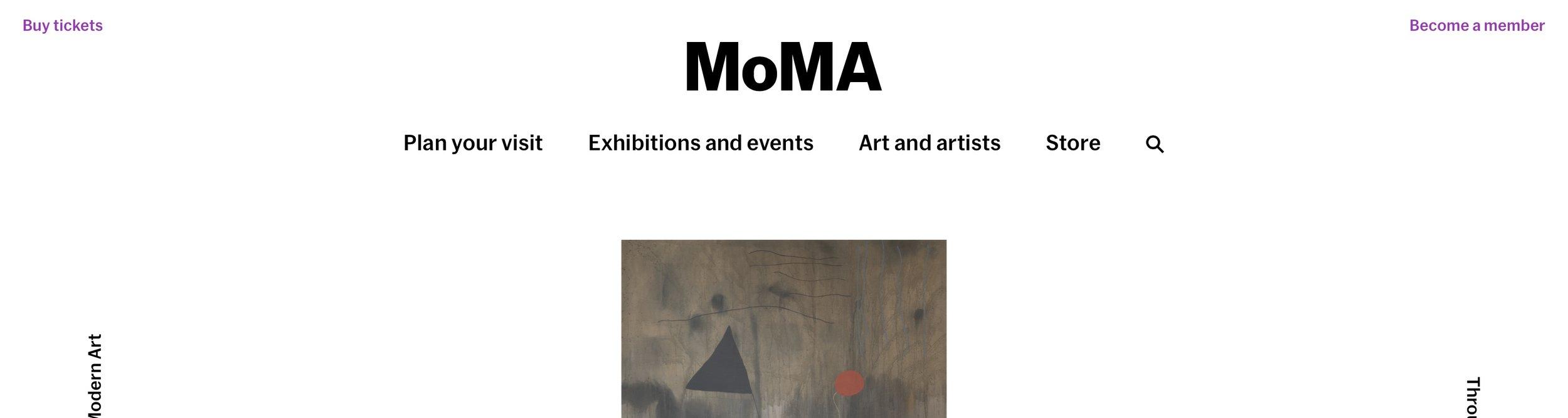 MoMA main navigation