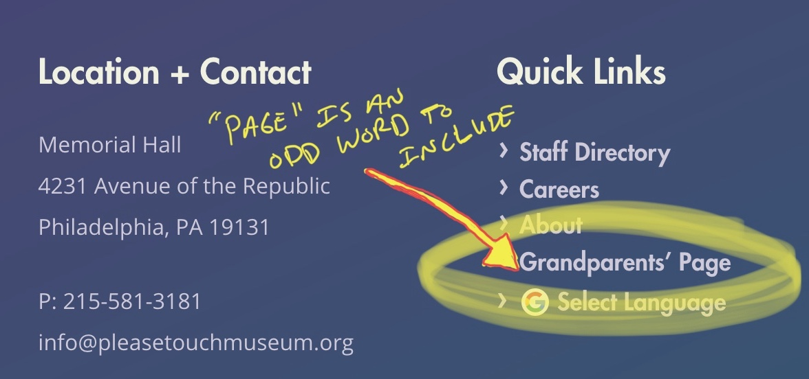 The Please Touch Museum's footer includes a link to a Grandparents' page.