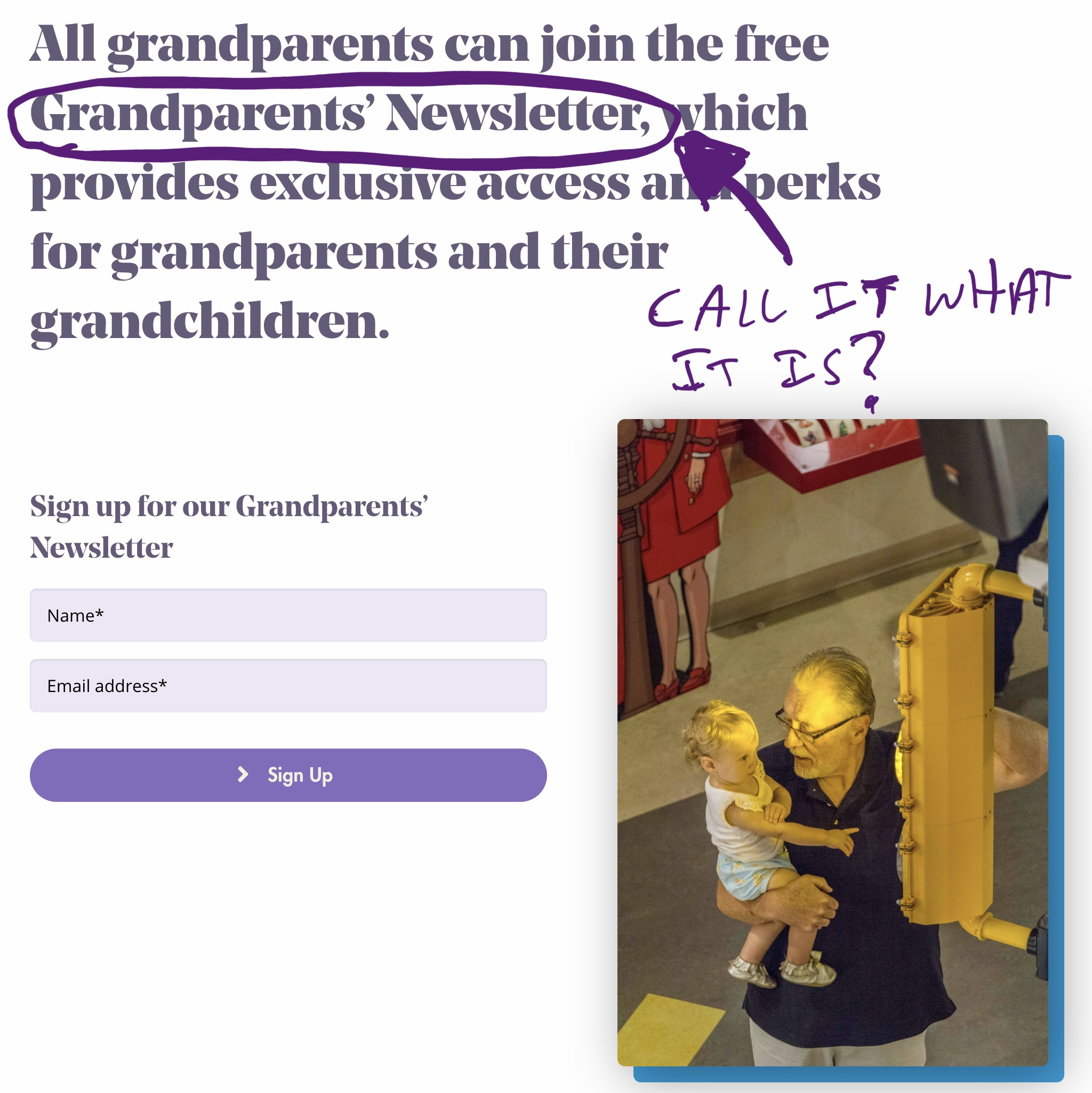 The grandparents' page consists of a headline and sign-up form for a grandparents' newsletter
