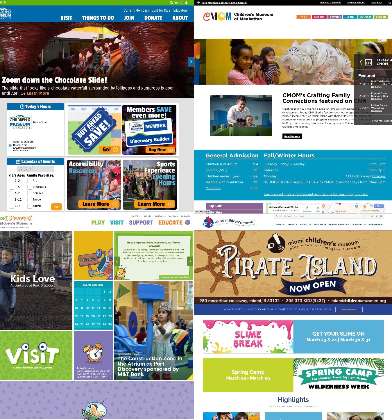 Home pages of different children's museums