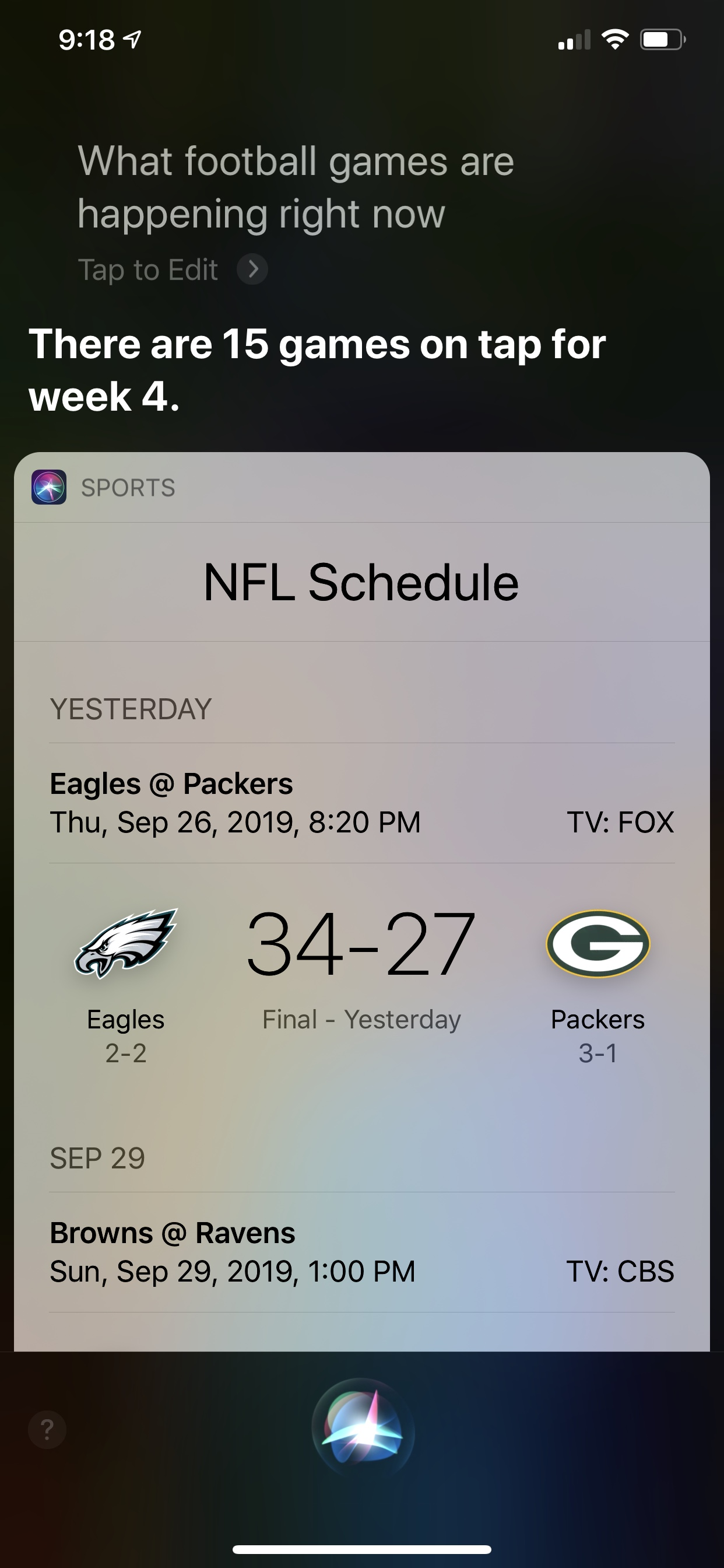 Screenshot showing Siri's response with information about the NFL schedule