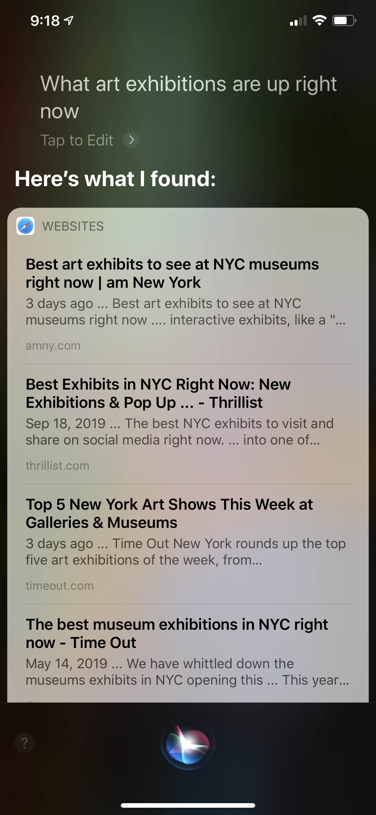 Siri response to question about art shows is sad in comparison