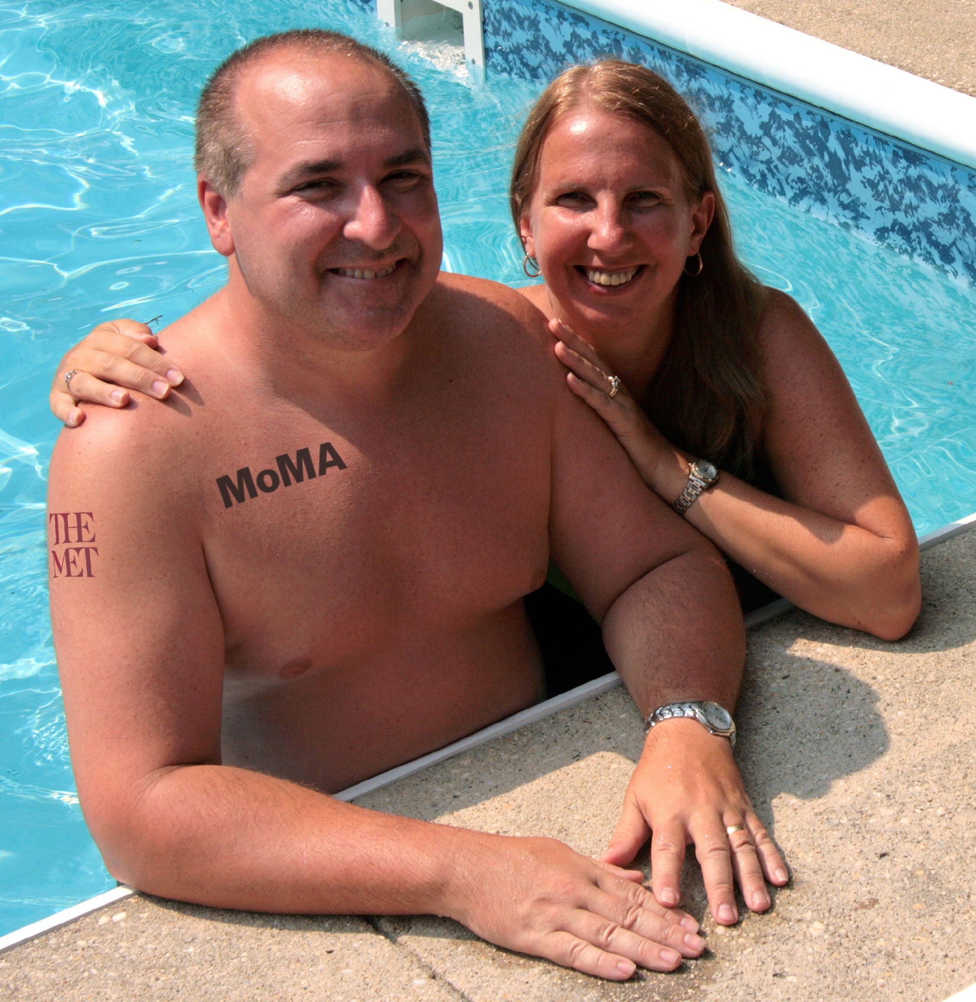 Couple poolside with museum tattoos