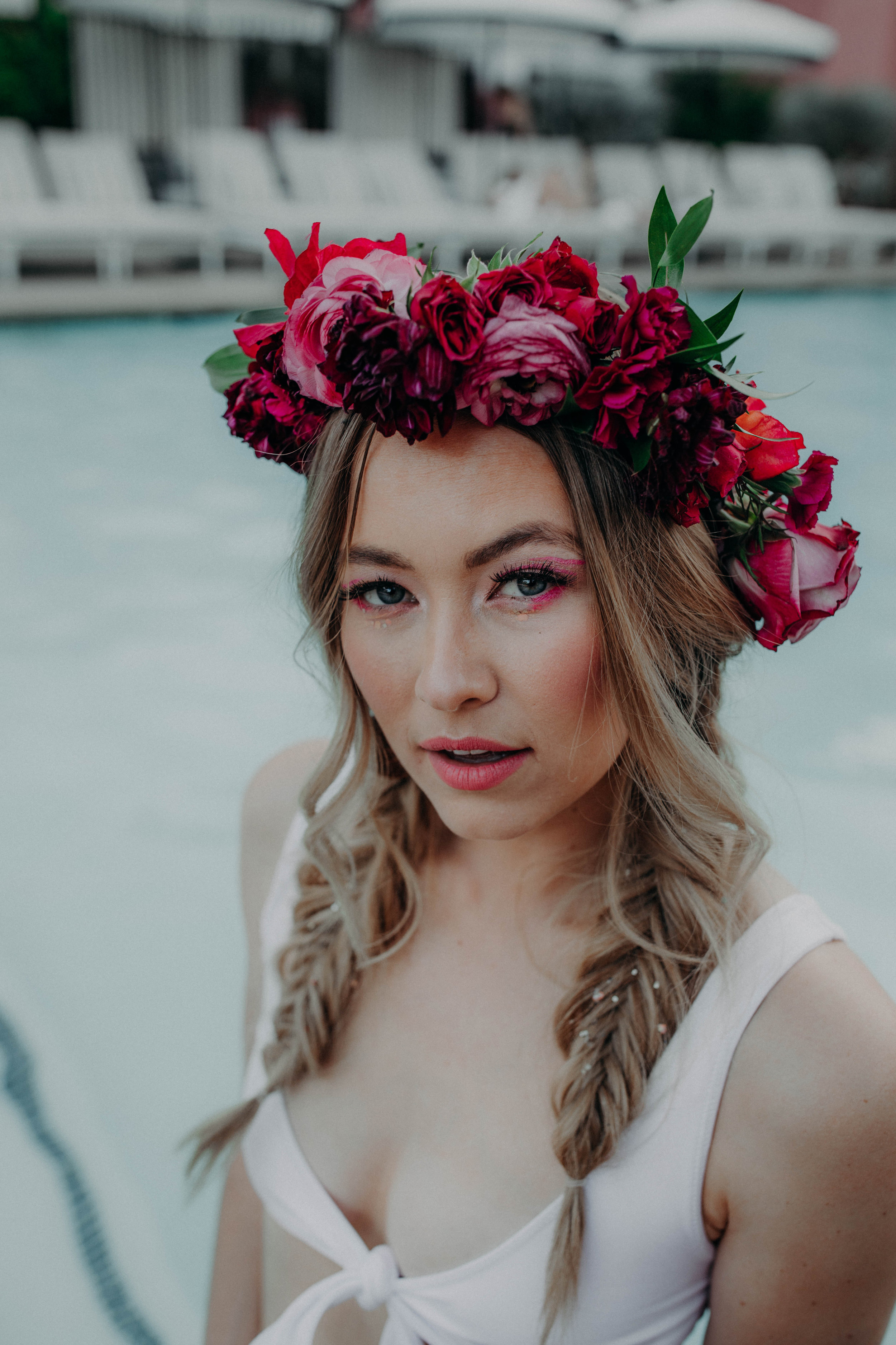 Flower Crown: The Foraged Fete .  Makeup: Nancy Z.   Model:  Bailey