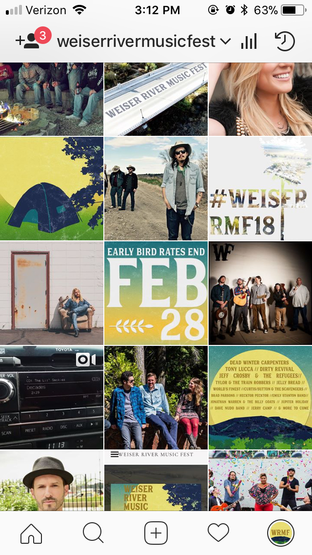 Instagram layout for the Weiser River Music Festival. I am the head of the marketing team for this event. https://www.instagram.com/weiserrivermusicfest/