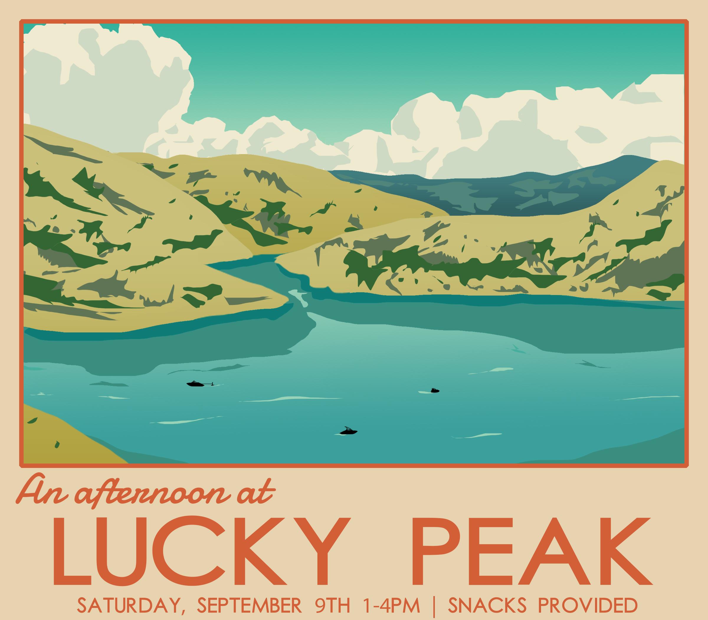 Graphic for Cru's Lake Day, designed to imitate a vintage National Park postcard. Used for pamphlets, Instagram/Facebook, and slides.