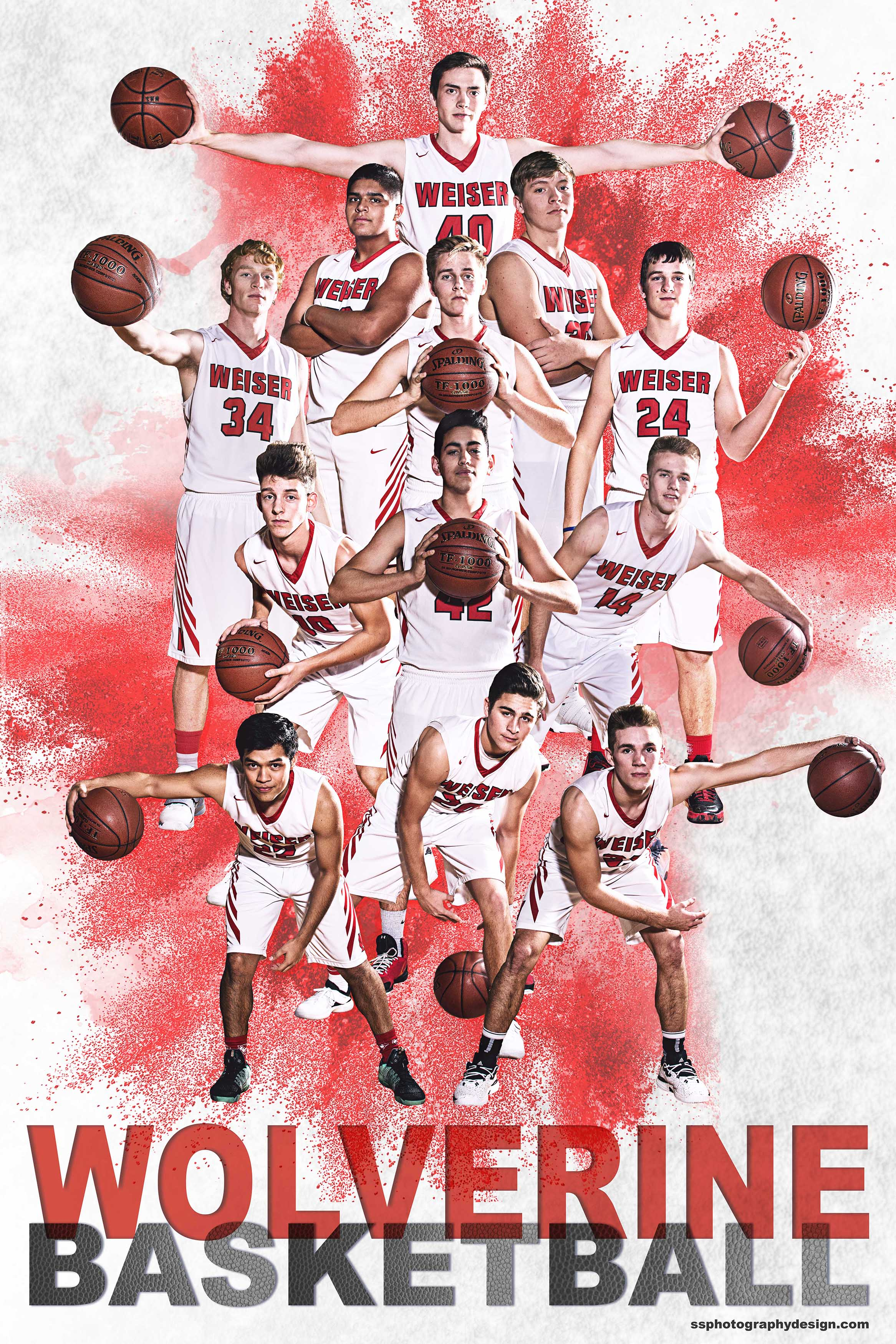 WHS Boys Basketball 2017-18 team photography, lighting, and composite.