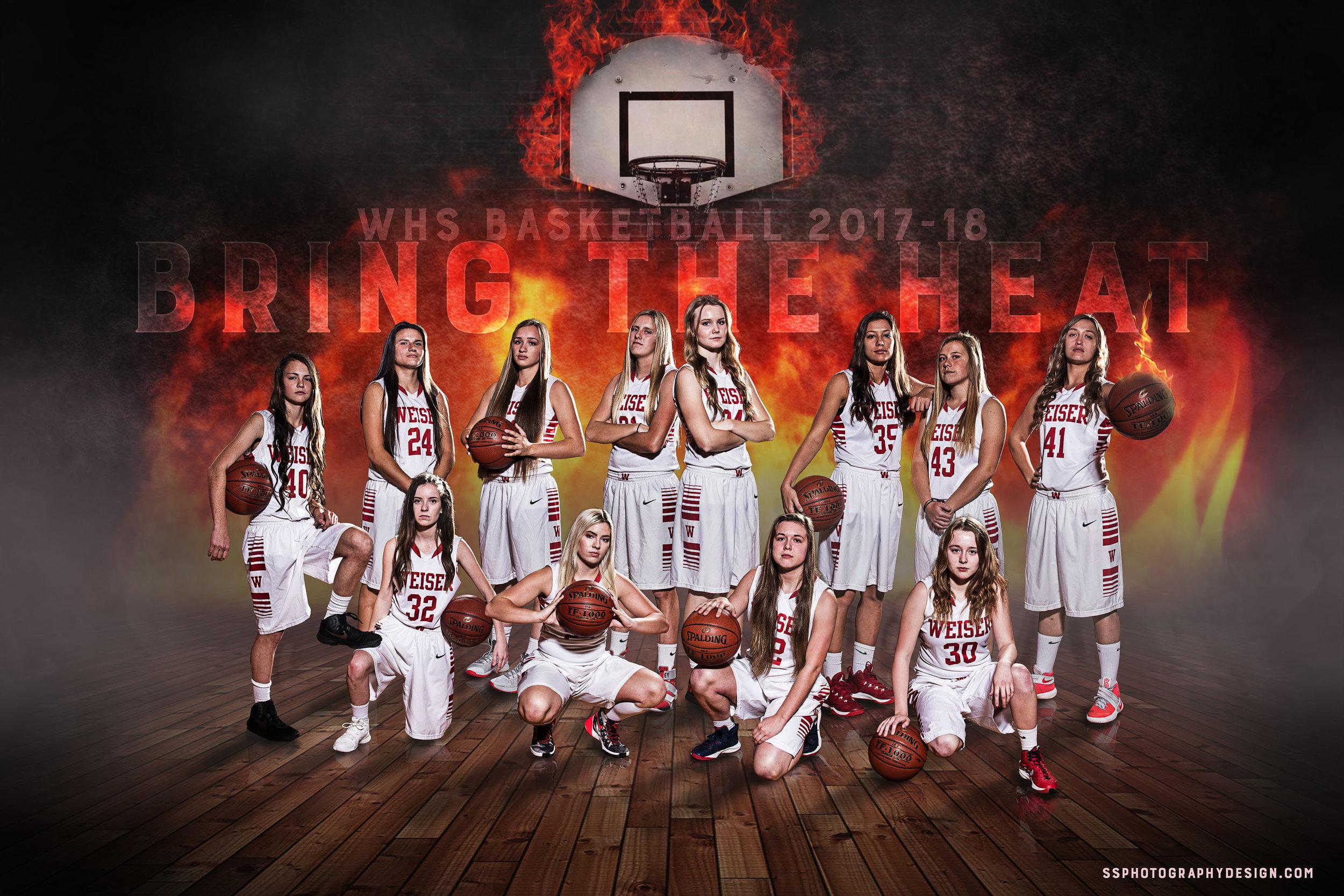 WHS Girls Basketball Team photography, lighting, and composite.