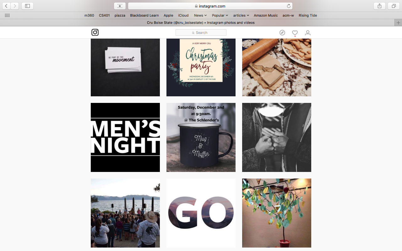 Cru Boise State Instagram layout and management. https://www.instagram.com/cru_boisestate/
