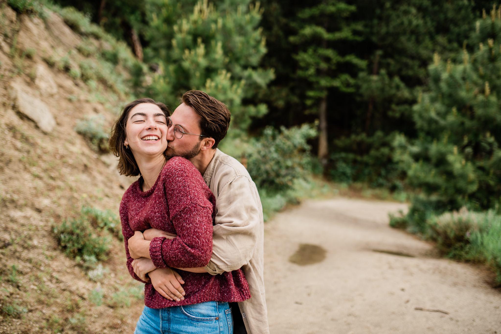 Boise Wedding Photographer // Idaho engagement photographer // Cozy Posing // Sweaters // PNW Engagement // Wedding // Idaho Engagement Session // Natural Couples Posing Ideas // Cozy Sweaters // hipster couples // mountain couples photography // Mountains // couples Outfit Ideas // levis // casual couples outfit // Summer couples session // bogus basin // Forest // coffee session // guitar // boise couples photographer // SS Photography & Design // Sadie Shirts
