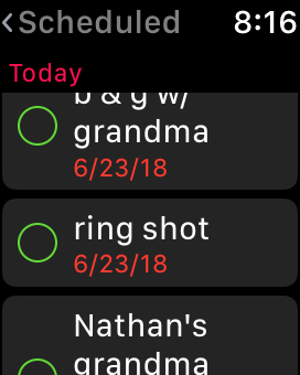 I can quickly glance down at the Reminders on my watch and see the shot list.