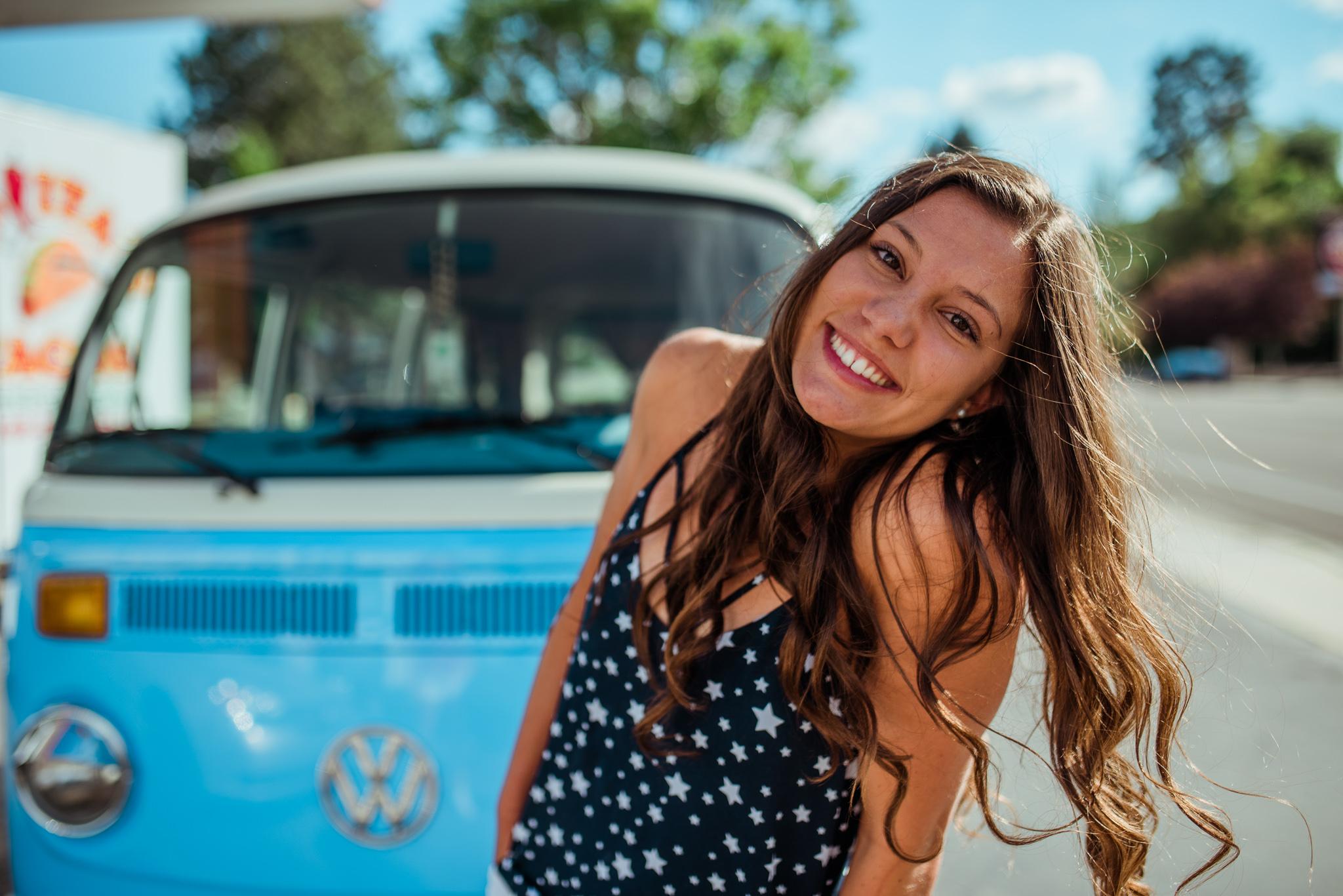 Boise Senior Photographer // Idaho // graduation // Boise // natural posing // laughter // flowers // senior girl posing // VW Bus // retro aesthetic // fun senior pictures // summer vibes // summer photos // summer // SS Photography & Design // Sadie Shirts