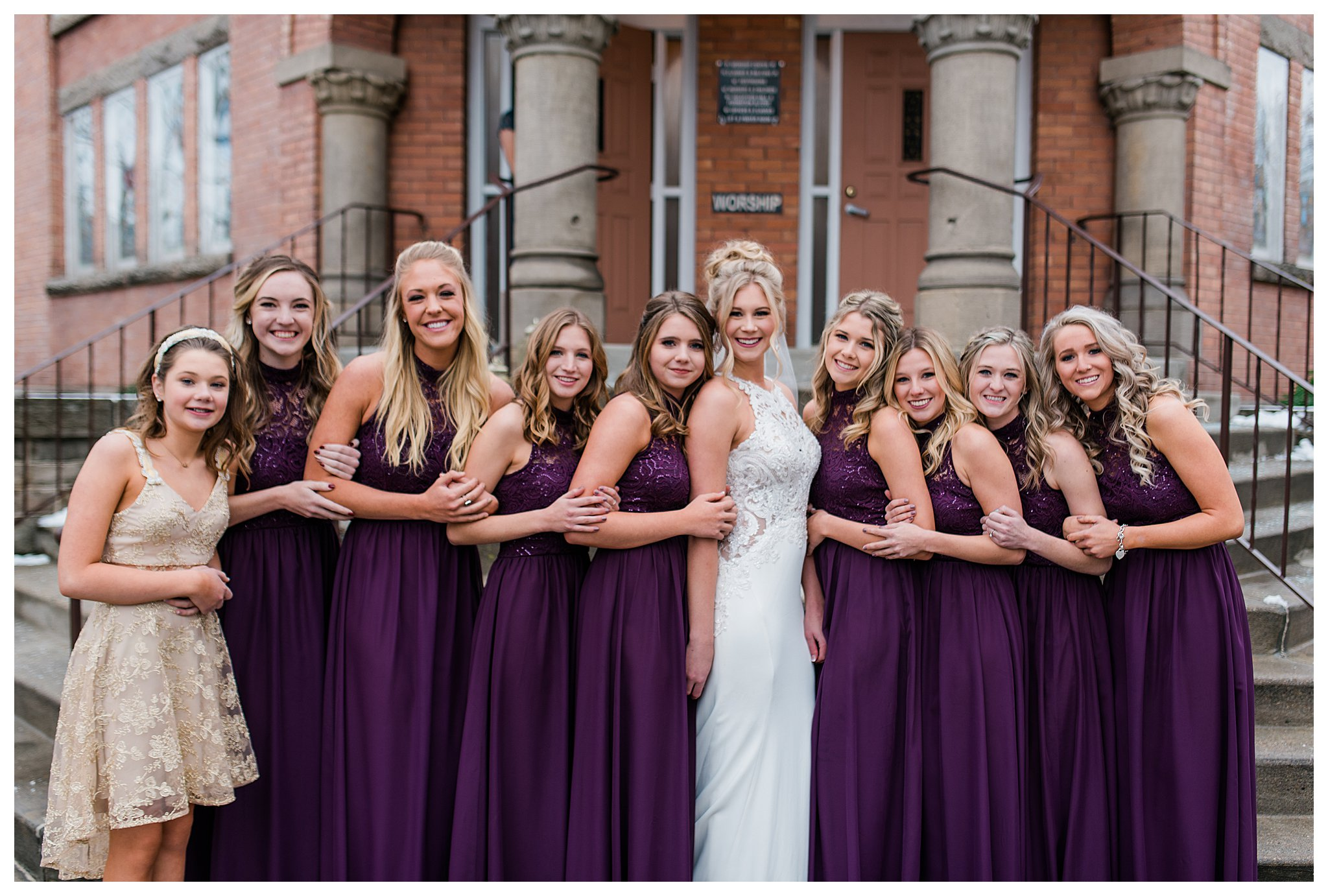Boise Wedding Photographer, Idaho Wedding Photographer, candlelit wedding, Father daughter first look, first look ideas, plum and gold wedding colors, winter wedding, Indoor Photography, lace wedding dress, wedding updo, sentimental wedding ideas, documentary wedding photographer, wedding photography, large group wedding, bridesmaid posing ideas