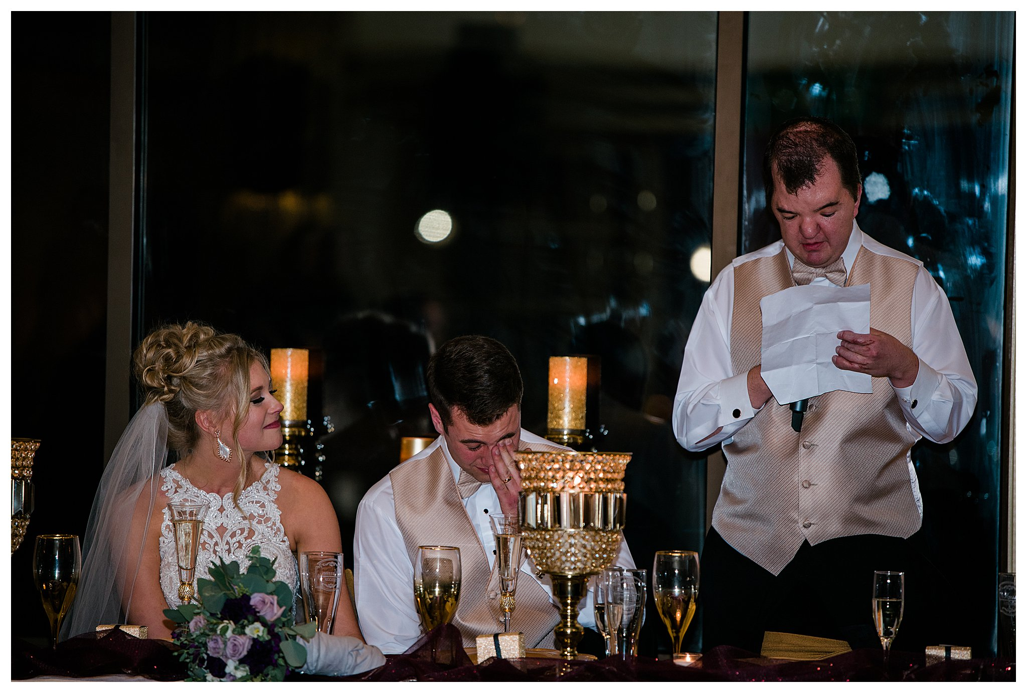 Boise Wedding Photographer, Idaho Wedding Photographer, candlelit wedding, plum and gold wedding colors, winter wedding, reception, fun dancing, speech, lace wedding dress, wedding updo, sentimental wedding ideas, documentary wedding photographer, wedding photography, large group wedding, church wedding