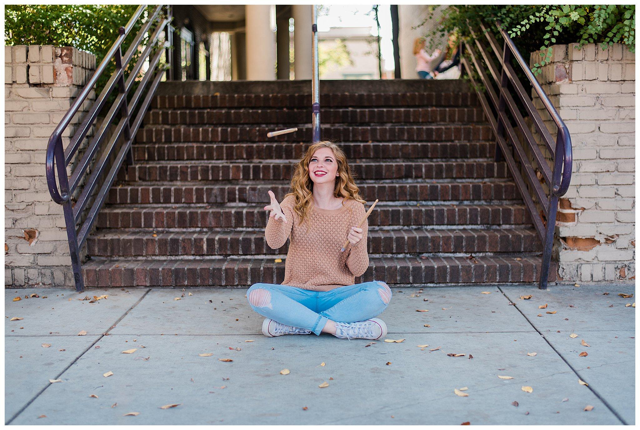Boise Senior Photographer, Idaho, graduation, Boise, natural posing, laughter, girls senior photos, drums, summer aesthetic, senior photography, fun senior pictures, summer photos, SS Photography & Design, Sadie Shirts