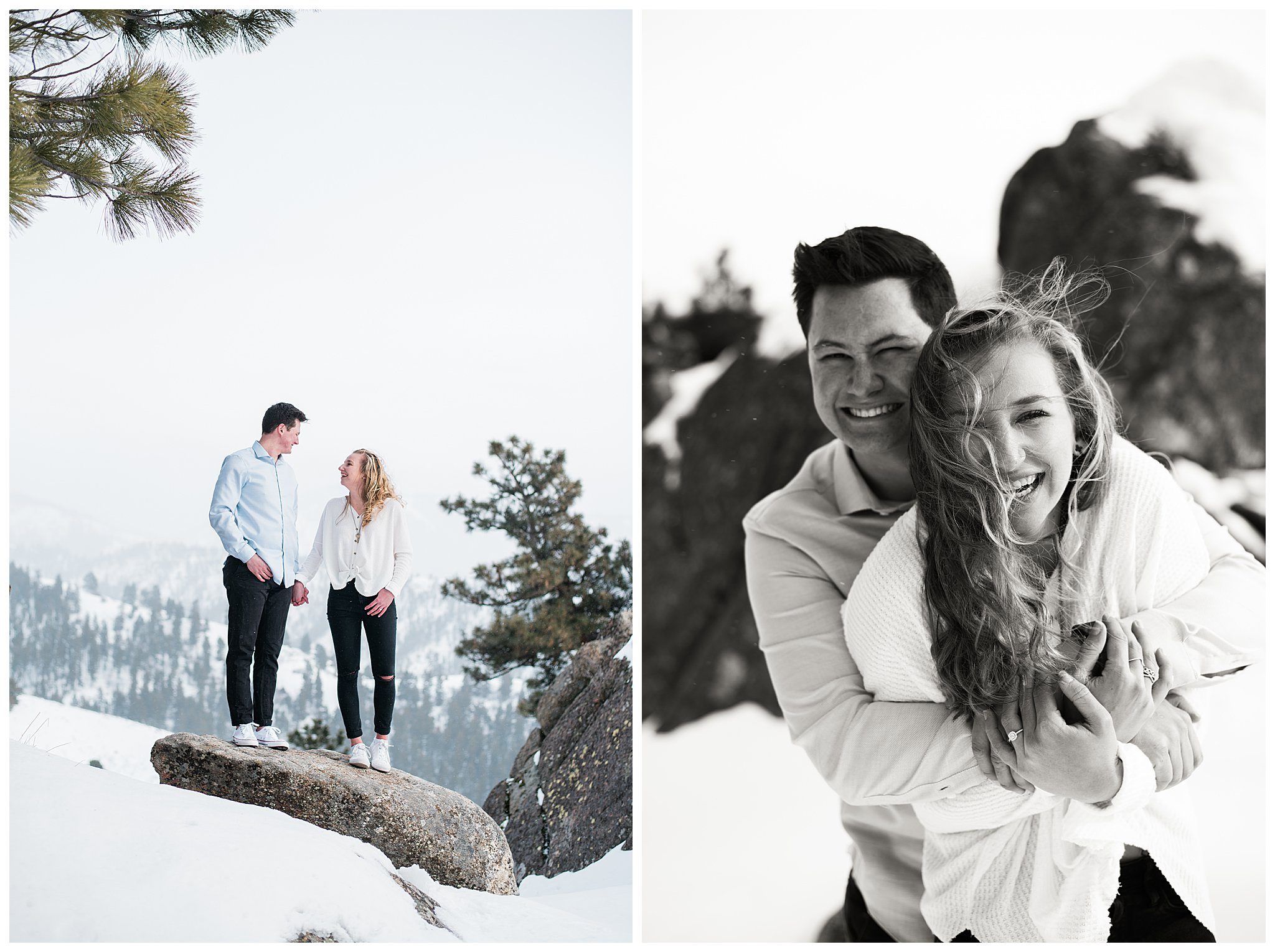 Boise Wedding Photographer, Idaho engagement photographer, Cozy Posing, Sweaters, PNW Engagement, Wedding, Idaho Engagement Session, Natural Couples Posing Ideas, Cozy Sweaters, mountain engagement, mountain couples photography, casual couples outfit, snow, winter, bogus basin, adventure photography, travel, Forest, boise couples photographer, SS Photography & Design, Sadie Shirts