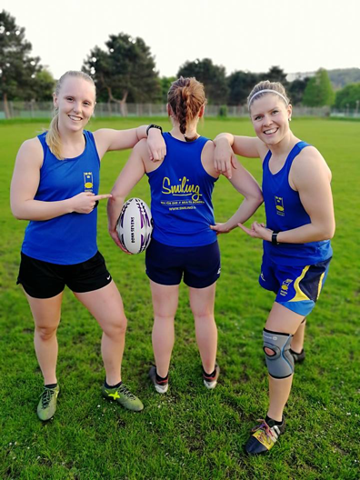 From left: Olivia Palmer, Emma Skagerlind and Lene Lykke-Olesen at the German tournament Bonn 7s that Sweden won 2018, just before her accident.