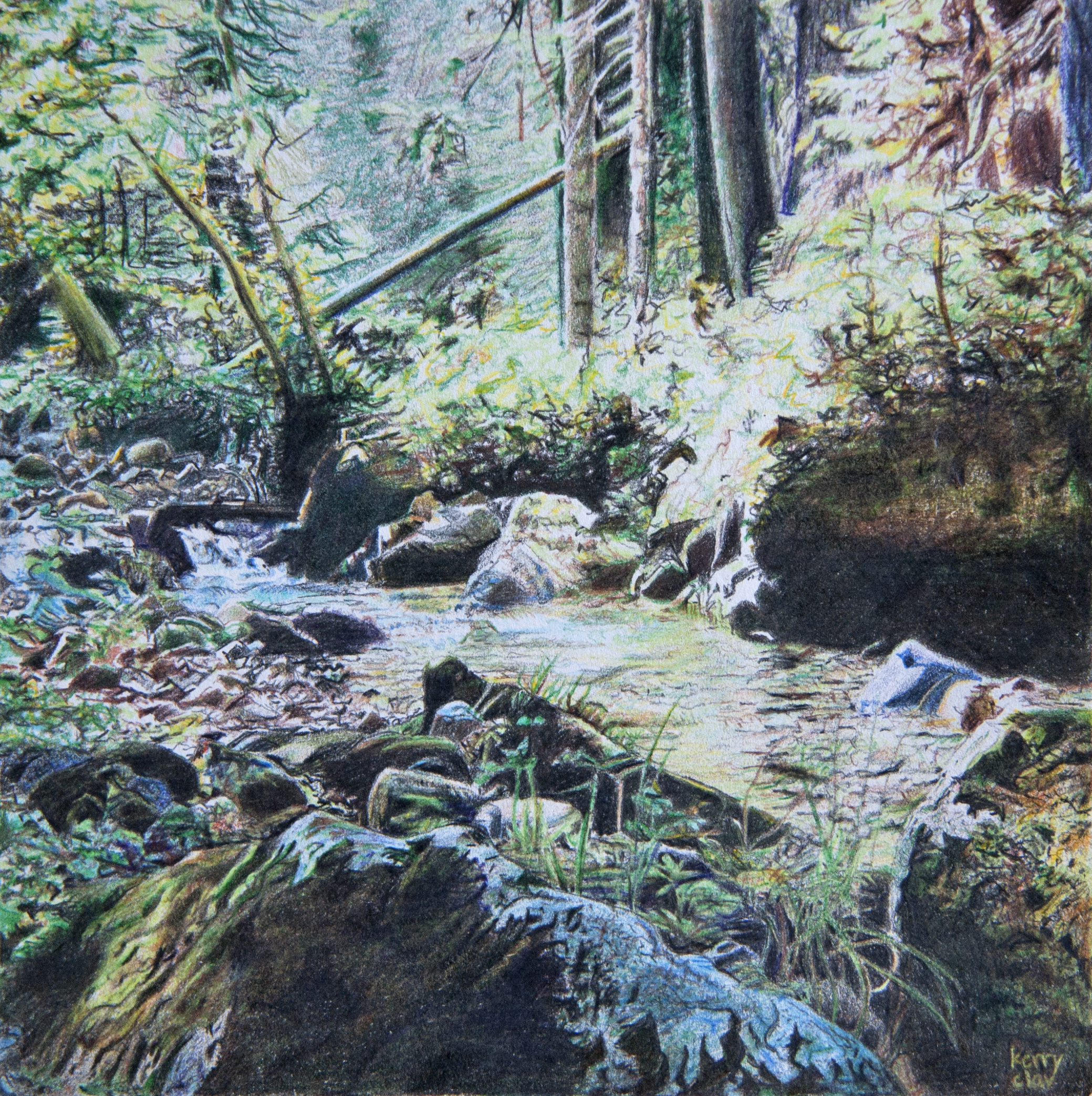 Stillaguamish Headwaters 1  Colored pencil on paper. 6 x 6 in.