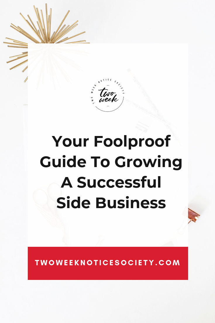 Thinking about starting your side business or have been dabbling in one, but want to start making a full-time income from it? In this post, I am sharing my foolproof guide to growing a successful side business. Join my free training on how to take your side hustle full time!! How Make A Full Time Income In Your Side Hustle #workfromhome #leave9to5 #twoweeknotice #sidehustle #mompreneur #businessplan